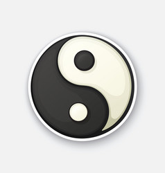 cartoon sticker with yin and yang symbol vector image