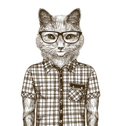 Cat dressed up hipster fashion concept sketch vector