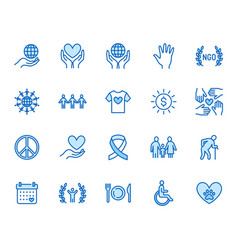 charity flat line icons set donation nonprofit vector image