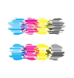 cmyk circles with glitch effects vector image