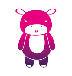 Color silhouette cute and happy hippopotamus wild vector