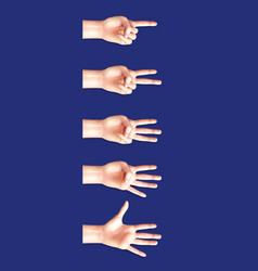 communication gestures counting hands vector image