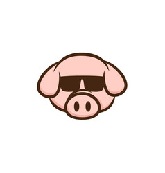 Cool pig with sunglasses cartoon vector