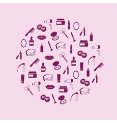 cosmetics icons in circle vector image
