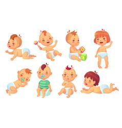 Cute baby happy cartoon babies smiling vector