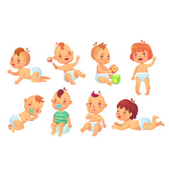 cute bahappy cartoon babies smiling and vector image