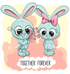 Cute cartoon rabbits boy and girl vector