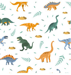 cute dinosaurs seamless pattern prehistoric vector image