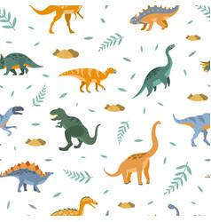 cute dinosaurs seamless pattern prehistoric vector image