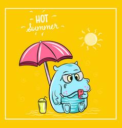 cute hippopotamus holiday on beach vector image