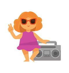 Cute little girl standing near grey tape recorder vector