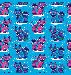 cute pattern with fox and vector image