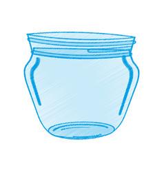 drawing glass jar utensil vector image