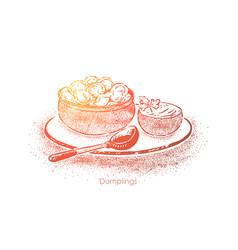Dumplings bowl with sour cream dough vector