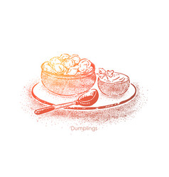 Dumplings bowl with sour cream dough with vector