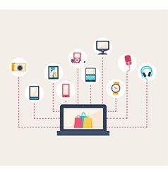 E-commerce icons surrounding a laptop vector