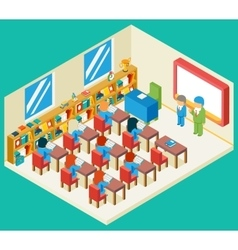 Education and school class isometric 3d concept vector image