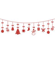 festive christmas hanging ornaments vector image