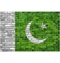 flag of pakistan on a brick wall vector image