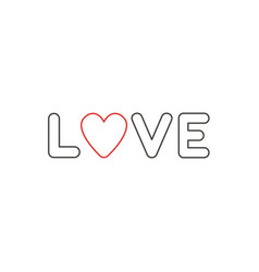 Flat design style concept of love text with heart vector