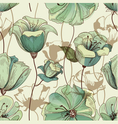Floral seamless pattern lily design vector