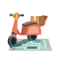 Food delivery service with motorcycle icon vector