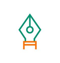 Fountain pen nib icon on white background vector
