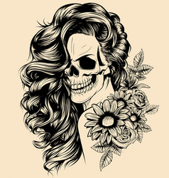 Girl with skeleton make up hand drawn vector