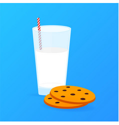 glass milk and chocolate chip cookies stock vector image