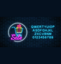 glowing neon sign of supermarket shopping cart vector image
