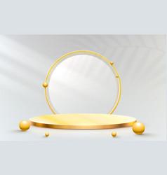 Golden stage podium with lighting stage podium vector