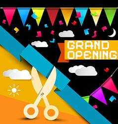 Grand Opening - Flags with Confetti - Scissors vector image