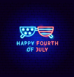 happy fourth july neon label vector image