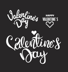 happy valentines day lettering logos elements vector image