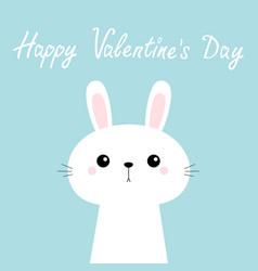 happy valentines day rabbit bunny head face cute vector image