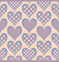 heart seamless pattern in retro style vector image