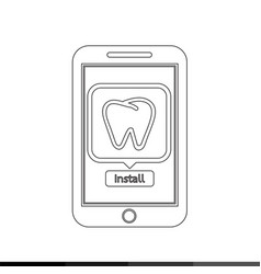icon of smart phone mobile teeth application vector image