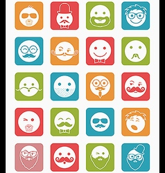 Icon set 20 mans faces color square vector