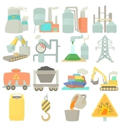 Industrial symbols icons set cartoon style vector image