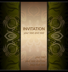 invitation card with golden pattern and ribbon vector image