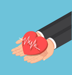 isometric businessman hand holding red heart vector image