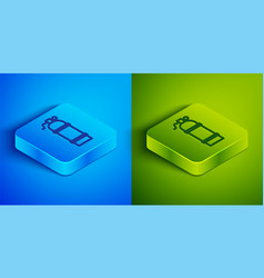 Isometric line aqualung icon isolated on blue and vector