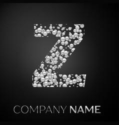 letter z logo silver dots alphabet logotype vector image