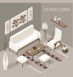 living room isomertic detailed set graphic vector image