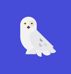 Logo white owl a polar owl icon flat vector