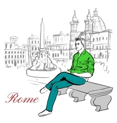 man sitting on bench vector image