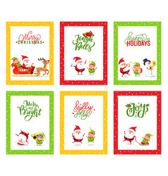 merry christmas greeting cards with santa claus vector image