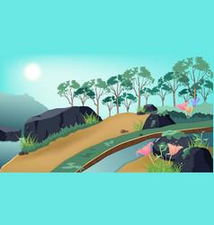 Nature landscape jungle forest traveling poster vector