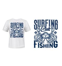 nautical t-shirt print ocean crab vector image