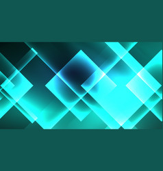 Neon glowing techno square rectangle lines blue vector